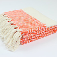 Orange Diamond Peshtemal, Turkish Beach Towel