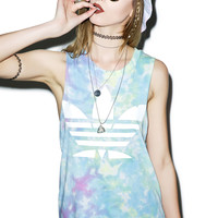 Petals and Peacocks Mary Jane Tie Dye Destroyed Tank Top