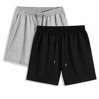 Fashion Casual 2pcs Men Drawstring Waist Track Shorts