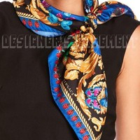 """VERSACE blue Ladybugs & Butterflies BAROQUE silk 35""""-square scarf NWT Authentic!"""