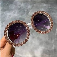 Brown Round Bling Sunglasses
