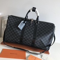 LV Louis Vuitton Damier Graphite CANVAS KEEPALL 45 SHOULDER BAG TRAVEL BAG