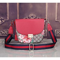 """Gucci"" Women Fashion Multicolor Flower Print Wide Shoulder Strap Single Shoulder Messenger Bag Lock Catch Saddle Bag"