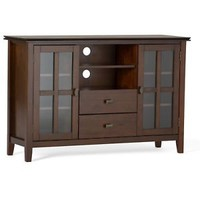 "Media Home Stand Storage Solid Wood Artisan TV up to 60"" Medium Auburn Brown"
