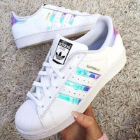 """""""Adidas"""" Fashion Reflective Shell-toe Flats Sneakers Sport Shoes Laser"""
