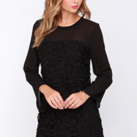 Yours Truly Black Long Sleeve Lace Dress