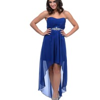 2014 Prom Dresses - Royal Blue Chiffon Pleated Strapless Sweetheart High-Low Dress