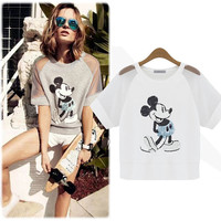 Mickey Mouse Print Mesh Sleeve T-Shirt