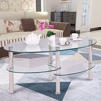 Oval Side Coffee Table Made Of Tempered Glass