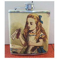 Alice in Wonderland flask white rabbit by buckaroosmercantile