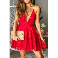Red Printed Short Dress with Criss Cross Back