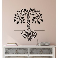 Vinyl Wall Decal DNA Family Tree Logo Word Home Interior Design Stickers (3301ig)