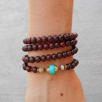 108 Bead Mala Necklace or Bracelet, Rosewood and Turquoise Guru Bead