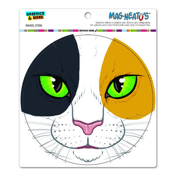 Calico Cat Face - Pet Kitty Circle MAG-NEATO'S TM Car-Refrigerator Magnet