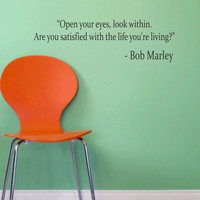 Bob Marley Quote Open Your Eyes Decal Quote Sticker Wall Vinyl Art Decor
