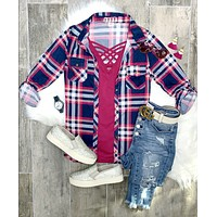 Penny Plaid Flannel Top - Navy/Pink
