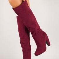 Bamboo Mozza-04 Suede Round Toe Knee High Boot