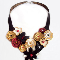 Leather Flowers Bib Necklace Hidden Black Butterfly White Beige Red Floral Leather Jewelry