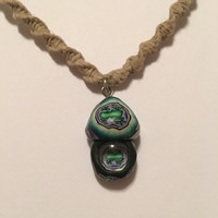 Handmade hemp necklace with a clay mushroom pendant boho hippie gypsy frog