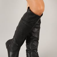Corset Round Toe Knee High Flat Boot