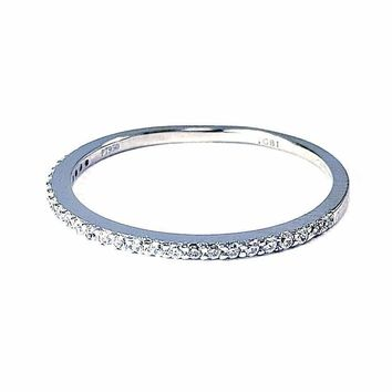 Lillianne .22CT Pavé Band Sterling Silver IOBI Simulated Diamond Ring for Women Anniversary Birthday Holiday Special Occasion