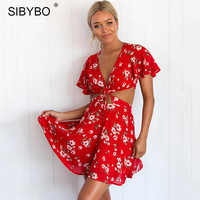 Sibybo Deep V Neck Short Sleeve Women Dress Casual Red Ruffles Floral Printed Robe Femme Summer Beach Lace Up Dresses Vestido