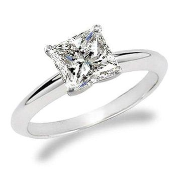 CERTIFIED | 3/4 Carat Princess Cut Diamond Solitaire Engagement Ring 14K White Gold (G-H, I1, 0.74 c.t.w) Very Good Cut (White)