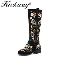 Kickway Plus Size 34-46 Ethnic Style Delicate Embroider Knee Boots Buckle Strap Women's Autumn Winter Boot Ethnic Boots Ladies
