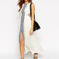 ASOS PETITE Maxi Dress with Festival Embroidery and Cut Out Back at asos.com