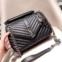 YSL 2019 new women's plaid chain bag shoulder bag Messenger bag