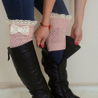 Pale pink bow lace boot cuffs boho boot socks lace cuffs lace leg warmers  women's accessory birthday gift christmas gifts