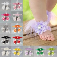 Doorbuster - 3pc set Chiffon Flower Feather Headband with Barefoot Sandals - Holiday 2020 LIMITED QUANTITY