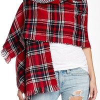 Houndstooth Reverse Plaid Blanket Wrap