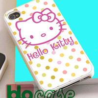Hello Kitty On Polka For Iphone 4/4s, iPhone 5/5s, iPhone 5C, iphone 6, and iPhone 6 Plus Case
