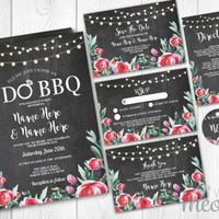 Wedding Invitations Set Template Rustic Chalk Red Package Printable Invites Save The Date INSTANT DOWNLOAD Tags Floral Personalize Editable