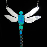 PANIKA holographic dragonfly statement necklace / laser cut perspex necklace