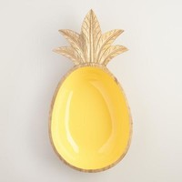 Glazed Mango Wood Pineapple Serving Bowl