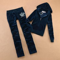 Juicy Couture Studded Jc Logo Crown Velour Tracksuit 8605 2pcs Women Suits Navy