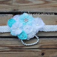 Maternity photo prop, baby shower corsage, baby shower sash, its a boy sash, unisex maternity sash,aqua sash, pregnancy sash, belly to birth