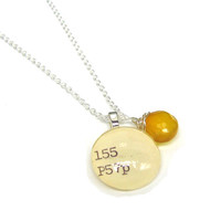 Dark Honey Yellow Chalcedony Sterling Silver Library Dewey Decimal Necklace