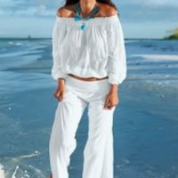 Off the shoulder top, pant, belly chain Cover Up