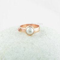 Amazing Two Stone Rose Gold Sterling Silver Ring, Fresh Water Pearl 8mm Round and Pink Opal Tiny Round Stone Silver Ring Jewelry - #SB-50020
