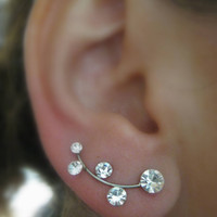 Ear Sweep Wrap - Cuff Earring Ear Climber, Silver Ear pin,  with Swarovsky - Silver Plated