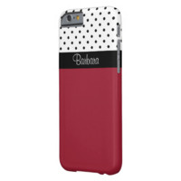 Monogram Spicy Red, Black White Dots Color Block Barely There iPhone 6 Case