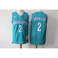 Men's Charlotte Hornets Larry Johnson Mitchell & Ness Teal 1992-93 Hardwood Classics Swingman Jersey - Best Deal Online