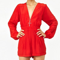 Red Long Sleeved V-Neckline High Waist Pleated Rompers