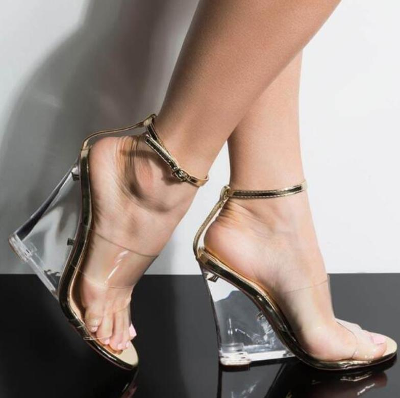 Image of New hot selling sexy crystal wedge sandals for women
