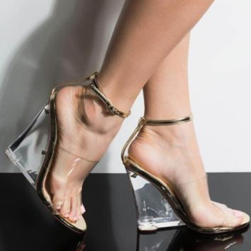 New hot selling sexy crystal wedge sandals for women