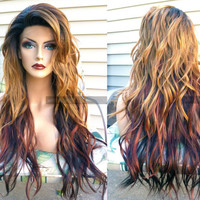 "U.S.A. // 24"" Long Heat OK Wavy Ombre Auburn Brown Lace Front & Skin Top Part Wig w/ Ombre Dark Root"