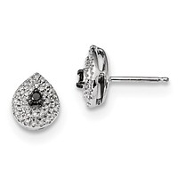 Sterling Silver Black and White Diamond Post Earrings QE7833